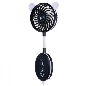 Strong Wind Mute USB Folding Cute Ear Design Handheld Fan - Black - 2xl