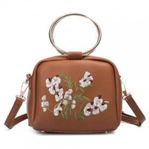 Embroidered Dual Metal Rings Handbag - Brown