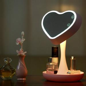 180 Degrees Rotate Heart Shaped USB Makeup Mirror Desk Lamp - Pink