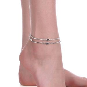 Rhinestone Heart Embellished Chain Anklet -