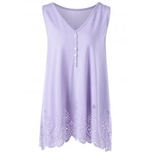 Single Breasted Openwork Plus Size Scalloped Tank Top - Light Purple - 5xl