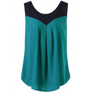 Curved Plus Size Two Tone Tank Top - Malachite Green - 3xl