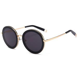 Hollow Out Leg Anti UV Round Sunglasses - Gold Frame + Black Lens - One-size