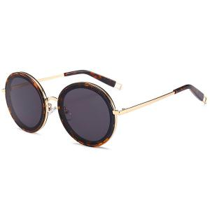 Hollow Out Leg Anti UV Round Sunglasses - Leopard