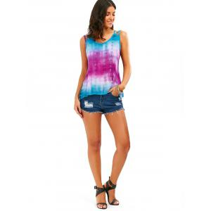 Tie-Dyed Print Sleeveless Baggy Blouse - COLORMIX XL