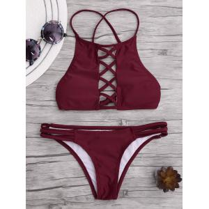 Lace Up Criss Cross Padded Bikini - Wine Red - S