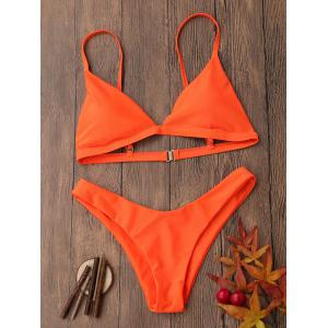 Spaghetti Strap Removable Padded Bikini Set - Jacinth - S