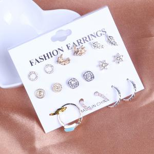 Leaf Circle Bird Stud Earring Set with Ring - Multicolor