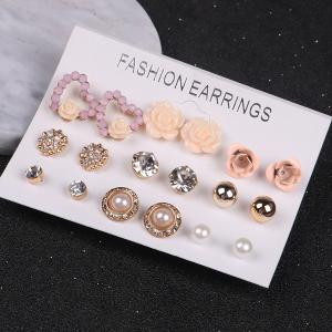 Faux Pearl Rhinestone Flower Heart Stud Earrings