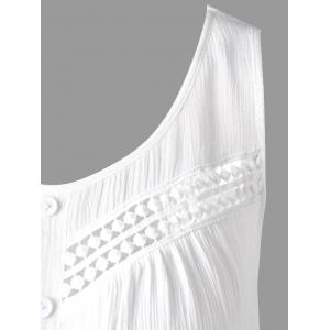 Openwork Single Breasted Crinkle Top - WHITE M