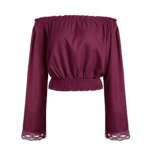 Off Shoulder Fluid Blouson Top - WINE RED XL
