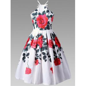 Floral Criss Cross Tea Length Vintage Dress - White - 2xl