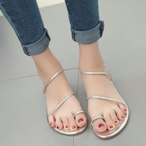 Toe Ring Strappy Flat Heel Sandals - Silver - 38