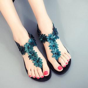 Elastic Band Flowers Flat Heel Sandals - Blackish Green - 38