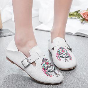 Buckle Strap Embroidery Flat Shoes - White - 40