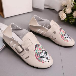Buckle Strap Embroidery Flat Shoes - APRICOT 38