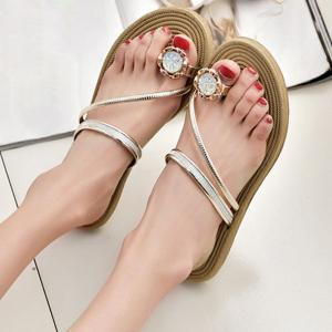 Toe Ring Metal Color Slippers -