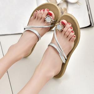 Toe Ring Metal Color Slippers - Argent 40