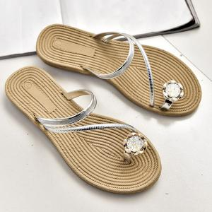 Toe Ring Metal Color Slippers - SILVER 37