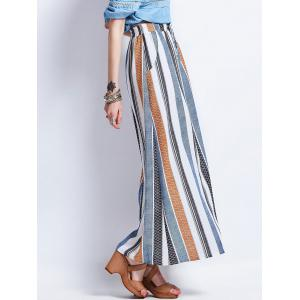 Striped Drawstring High Waisted Maxi Skirt - COLORMIX S