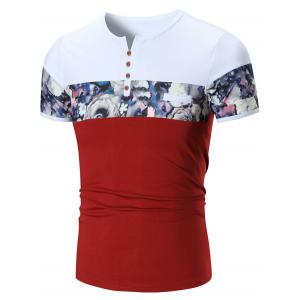 Floral Printed Notch Neck Tee