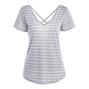 V Neck Criss Cross Back Stripe Tee