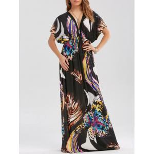 Butterfly Print Empire Waist Boho Maxi Dress - Black - 2xl