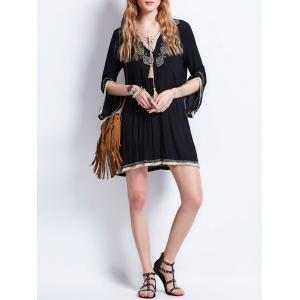 Tassel Lace Up Embroidered Bohemian Dress