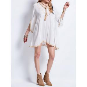 Tassel Lace Up Embroideried Bohemian Dress - WHITE M
