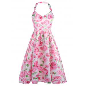 Halter Backless Floral Fit and Flare Dress