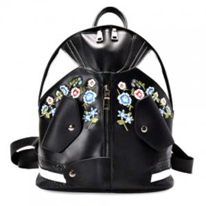 Jacket Shaped Floral Embroidered Backpack