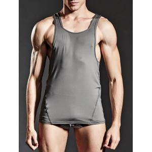 Fitted Stretchy Suture Tank Top - GRAY M