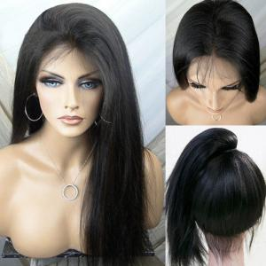 Free Part Yaki Ultra Long Silky Straight Lace Front Synthetic Wig - Black