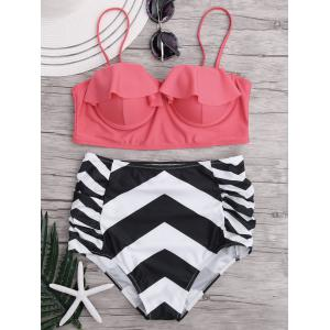 Zigzag Bikini Swimsuit with High Waisted Bottom