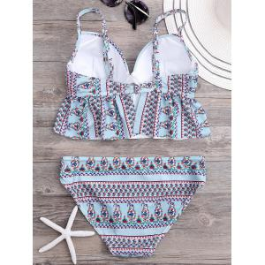 Ruffled Floral Underwire Bikini Set - LIGHT BLUE L