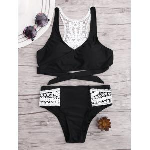 Lace Panel Racerback Wrap Bikini Set