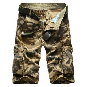 Zip Fly Flap Pockets Camo Cargo Shorts
