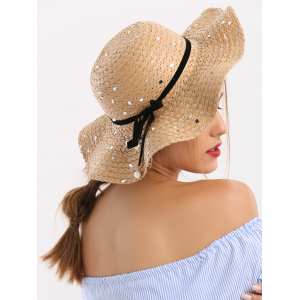 Sequin Detachable Ribbon Bowknot Straw Hat