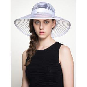 Wide Ribbon Bowknot Organza Stripe Sun Hat