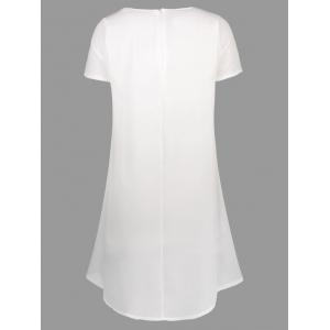 Printed Asymmetrical Dress - WHITE XL