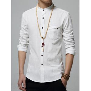 Pocket Stand Collar Long Sleeve Shirt