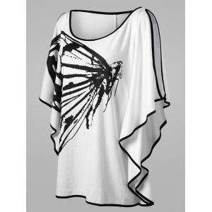 Plus Size Butterfly Pattern Slit Sleeve T-shirt -