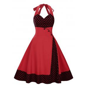 Plus Size Long Polka Dot Halter Vintage Flare Dress