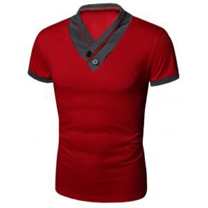 Buttons Embellished Shawl Collar Short Sleeve T-Shirt - Red - L