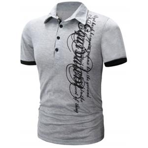 Graphic Print Panel Design Short Sleeve Polo T-Shirt - Light Gray - Xl
