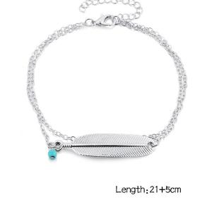 Artificial Turquoise Alloy Feather Chain Anklet -