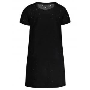 Distressed Floral Embroidered Mini T-shirt Dress - BLACK S