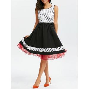 Polka Dot Tulle Hem Sleeveless 50s Dress - Black And White And Red - L