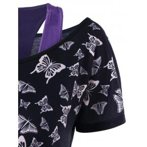 Skull Butterfly T-shirt with Tank Top - BLACK AND PURPLE 2XL