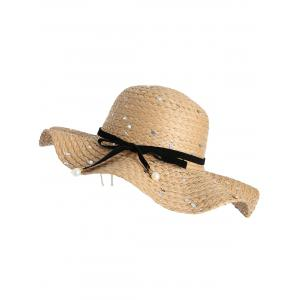 Sequin Detachable Ribbon Bowknot Straw Hat - COFFEE